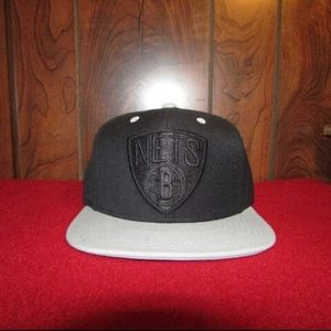Black and Grey Brooklyn Nets Snapback Hat